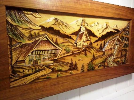 Mid Century Hand Carved Wood German Black By