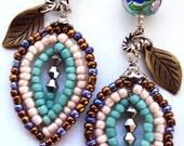 French Beaded Leaf Earrings - Something Blue - Pastel Wedding - Blush Wedding - Wedding Jewelry - Bridesmaid Gift Earrings