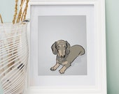 Mini Daschund Dog Portrait - Gray Digitally Illustrated Print - 8 x 10 Archival Matte Print