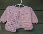 Vintage Hand- Knitted Baby Girl Sweater and Matching Hat--0-3 Months