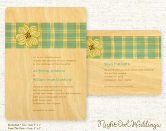 Real Birch Wood Wedding Invitation - Wedding Suite - Real Wood Invitation - Plaid Dogwood