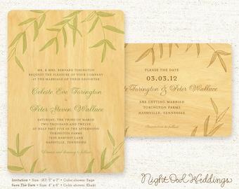Real Birch Wood Wedding invitation Suite - Wispy Bamboo
