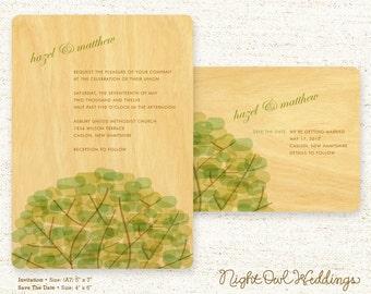 Real Birch Wood Wedding Invitation Suite - Treetop