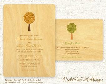 Real Birch Wood Wedding Invitation Suite - Elm Tree