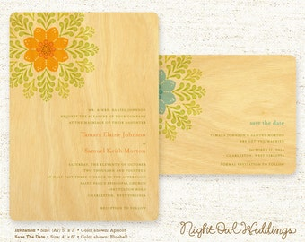 Real Birch Wood Wedding Invitation Suite - Deco Rosette