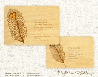 Real Birch Wood Wedding Invitation Suite - Heart Feather