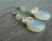 Opalized Glass and Green Opal Swarofski Wire Wrapped earrings
