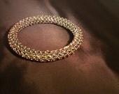 Green, burgundy, and gold Beaded bangle bracelet