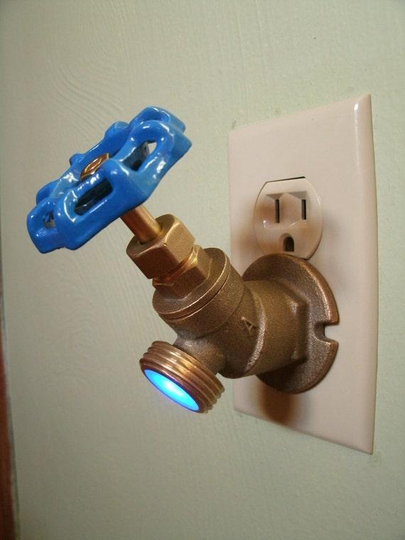 Blue LED Faucet Valve night light