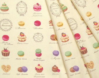 Yuwa Japanese Fabric / Cute Macaron Design Oxford Fabric White - 50cm x 110cm