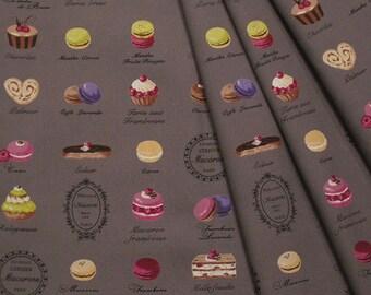 Yuwa Japanese Fabric  / Cute Macaron Design Oxford Fabric Gray - 50cm x 110cm