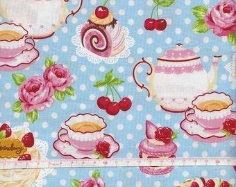 TEA PARTY PRINT Blue Japanese Fabric - 110cm x 50cm