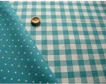 Reversible Print Checker and Dot (Greenish Blue) Japanese Fabric - 110cm x 50cm