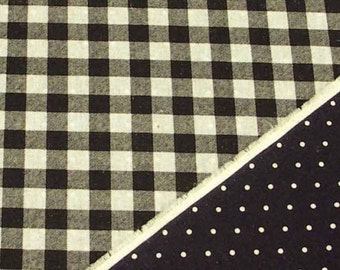 Reversible Print Checker and Dot (Black) Japanese Fabric / 110cm x 50cm