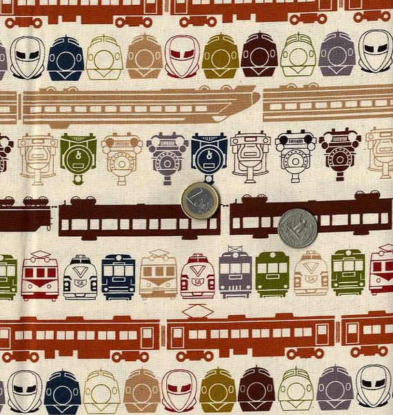 Train faces pt 2 japanese fabric half yard for Train fabric by the yard