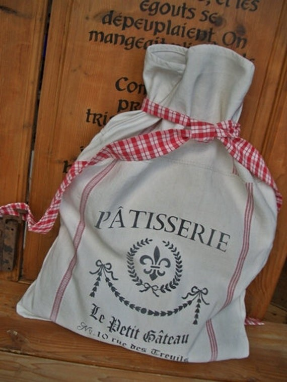 RESERVED  for Priscilla  Cushion antique linen grainsack French stencil pillow burlap