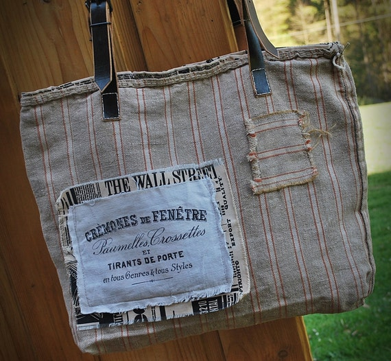grainsack hand bag antique linen