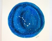 The Big Dipper  - Night Sky Star Constellations Watercolor Painting 9x12""