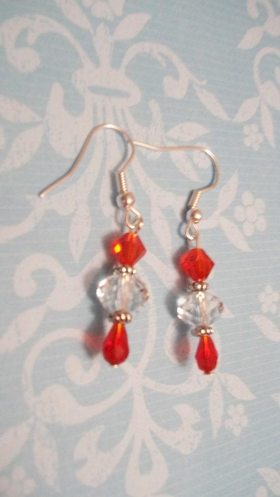 Red Crystal Beaded Earrings