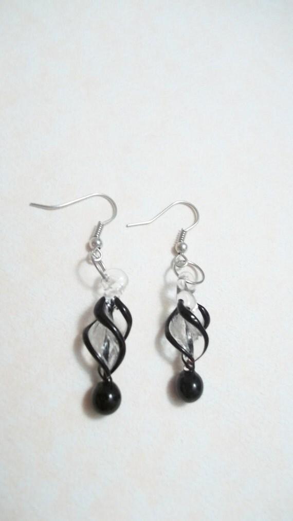 Black and White Murano Lampwork Spiral Earrings