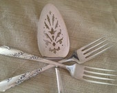 Bride and Groom Forks and Cake Server  Hand Stamped Vintage Silverplate