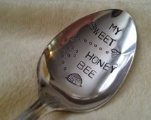 Recycled Silverware My Sweet Honey Bee  vintage silverplate hand stamped spoon