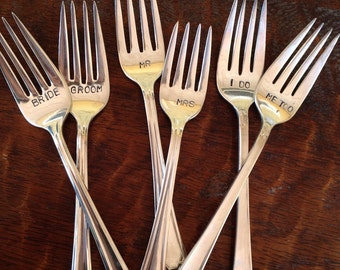 Bride and Groom wedding forks  hand stamped vintage silverware I Do  Me Too