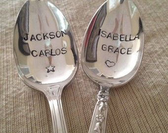 recycled silverware Hand Stamped Personalized Vintage Childs spoon