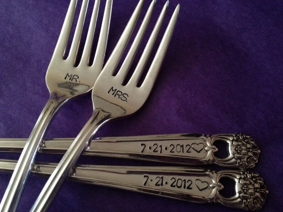 Mr and Mrs vintage recycled silverware hand stamped wedding fork cake fork
