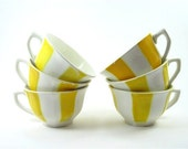 Vintage french tea cup, ceramic cup, yellow and white, set of 6