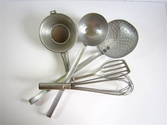 Vintage french Kitchen tools,Collection Silver Utensils