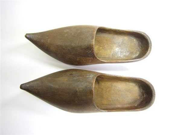 Antique wooden shoes,wooden clogs, french