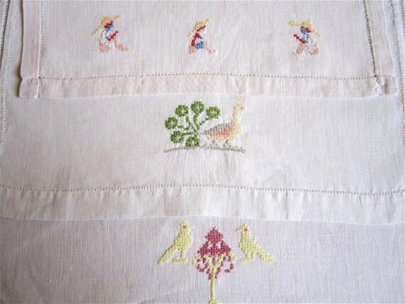 Vintage french Baby bib, handmade cross stitch,1940 s