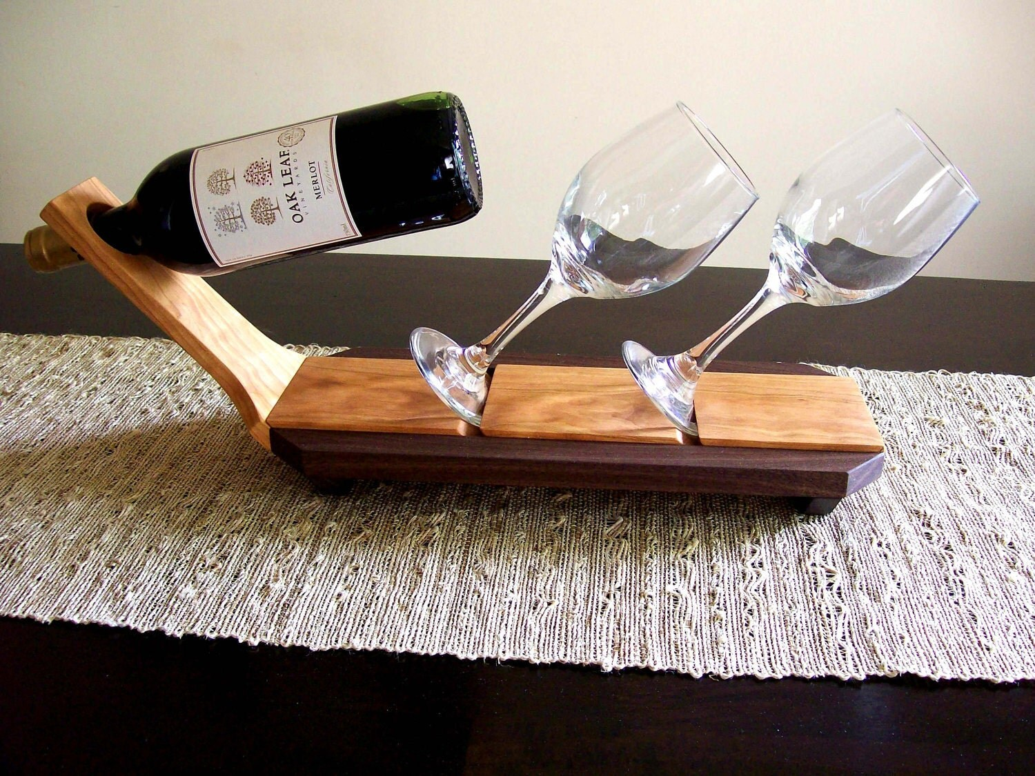 Wine Glass And Bottle Caddy Holder Rack Display
