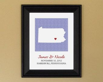 1st Wedding Anniversary Gift - Personalized Wedding Art Print  - Custom Pennsylvania State Map - 11 x 14