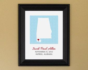 New Baby Boy Gift - Personalized Baby Name Art Print - Nursery Decor - Custom Alabama State Map - 11 x 14