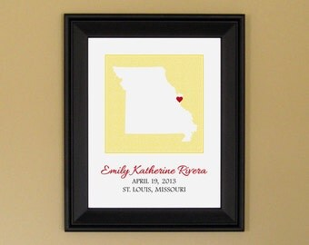 Nursery Wall Art Print - Personalized Baby Name Sign - New Mommy Gift - Custom Missouri Map - 11 x 14