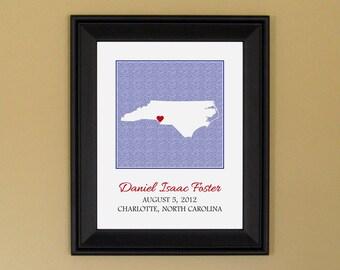 Personalized Nursery Art Print - Custom Baby Name Art Print - New Mother Gift - Custom North Carolina State Map - 11 x 14
