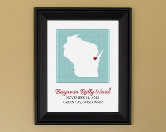 Personalized Baby Name Art - Birth Announcement Print - New Mom Gift - Custom Wisconsin Map - 11 x 14