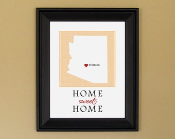 Arizona State Love Map - Home Sweet Home - Home Is Where the Heart Is - Personalized Housewarming Gift - Custom Birthday Gift - 11 x 14