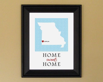 Missouri Art Map - Home Is Where the Heart Is - Home Sweet Home - Personalized Housewarming Gift - College Graduation Present - 11 x 14