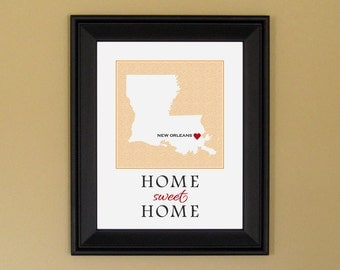 Louisiana Art Map - Home Sweet Home - Home Is Where the Heart Is - New Home Housewarming Gift - 11 x 14