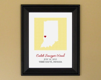 Baby Name Print - Personalized Birth Announcement Print - New Mom Gift - Custom Indiana Map - 11 x 14