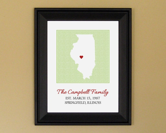 Family Name Sign - Established Date - Housewarming or Birthday Gift - Custom Illinois State Map - 11 x 14