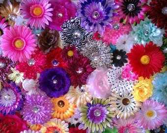 25 Assorted Silk Flower Heads-DIY CRAFT