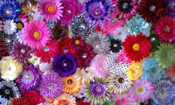 25 assorted silk flower heads diy craft for Flower heads for crafts