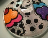 Glittery Hand-Painted Cupcake Martini / Wine Glass