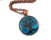 tree of life, turquoise hand painted pendant