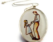 father daughter gift, first dance, hand painted necklace