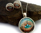 nest jewelry set, matching necklace and earrings, blue robin's eggs
